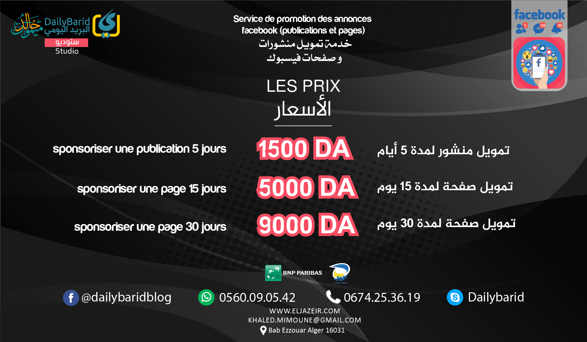 facebook ads prices - french copy
